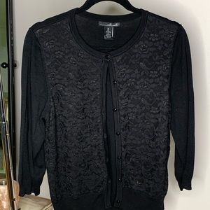 Lace front 3/4 length black cardigan